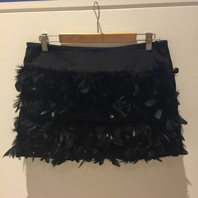 Bebe Feathered Skirt
