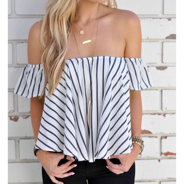 BLACK AND WHITE STRIP OFF SHOULDER