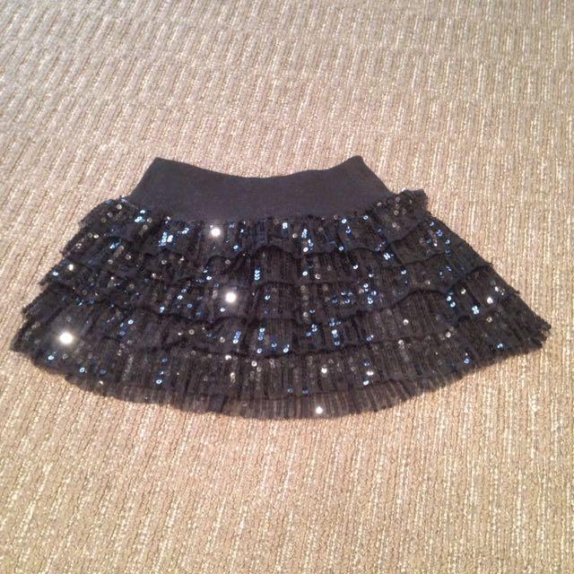 Black Sequence Skirt