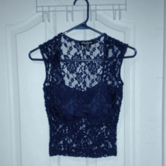 Blue Small Lace Crop Top
