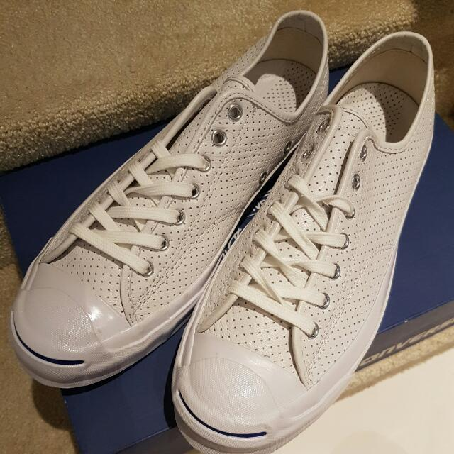 a44633e1bb7134 CONVERSE Jack Purcell Signature (Perforated White Leather Sneakers ...