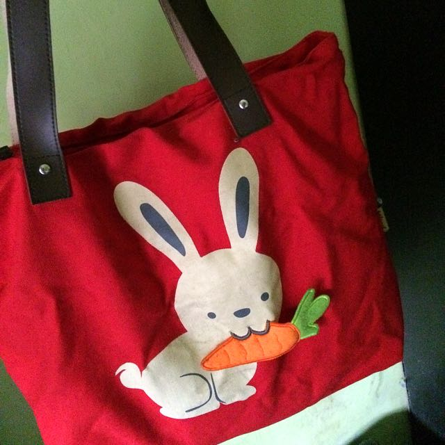 Cute Red Rabbit Tote Bag