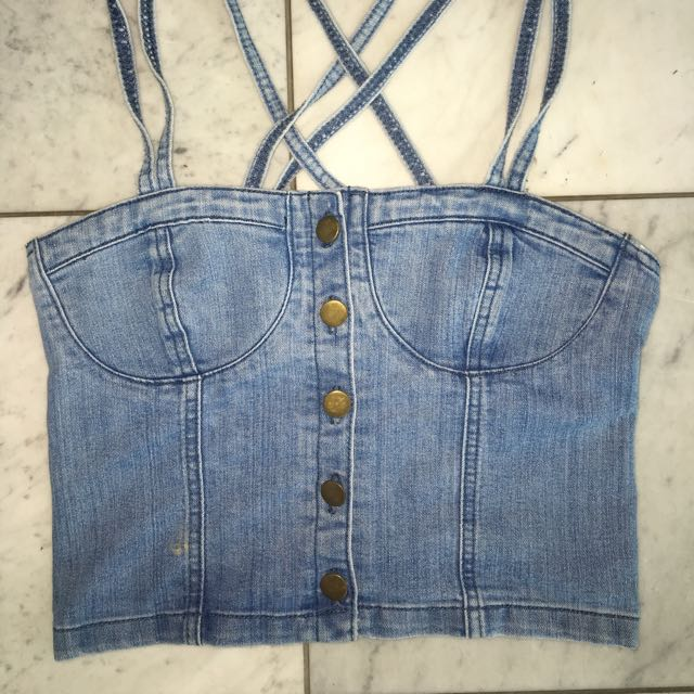 Denim Crop Top Size 8