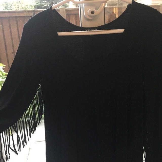 Express Black Fringe Shirt