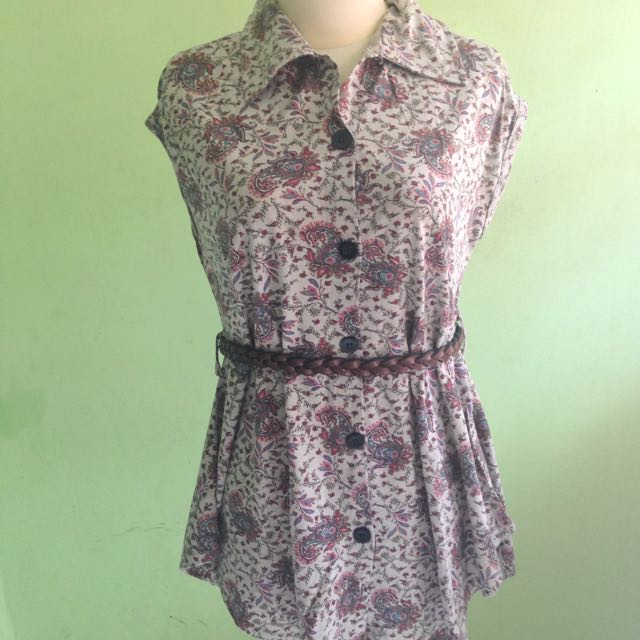 Flower Pattern Blouse with Belt