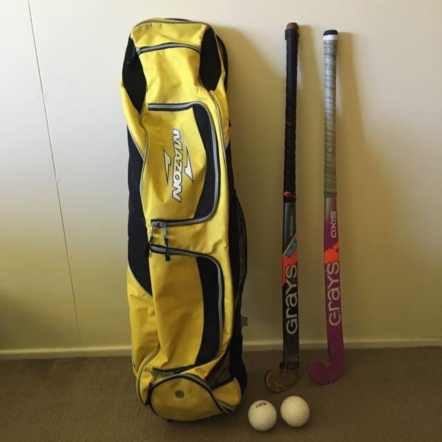 Mazon Hockey Bag, 2 Grays Sticks & 2 Balls