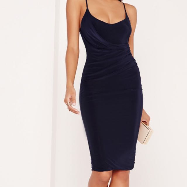 Navy slinky midi dress