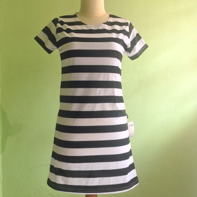 (NEW) Black & White Stripe Dress