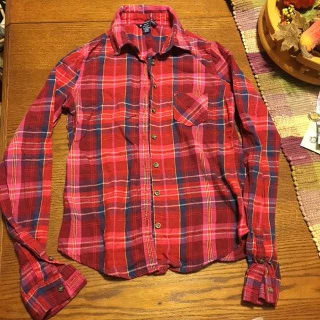 Bluenotes Pink Red And Blue Plaid Shirt