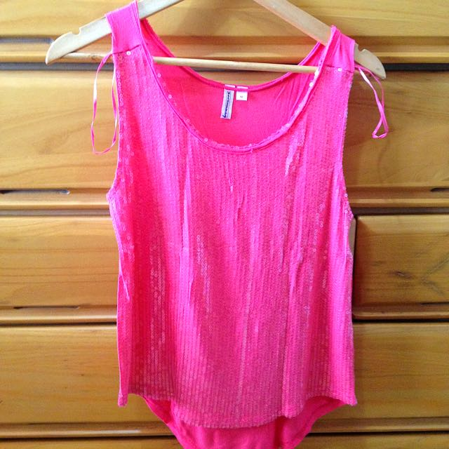 Pink Sequined Sleeveless