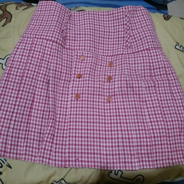 Pink White Small Square Skirt