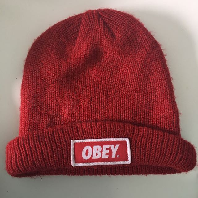 Red Obey Beanie