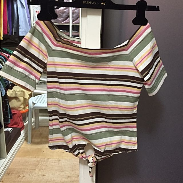 Rustans YVIP Off-shoulder Striped Top