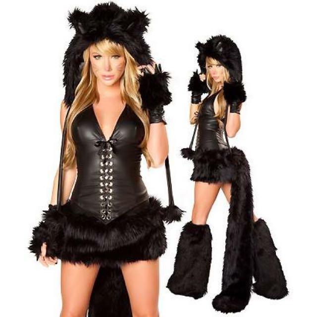 Sexy Fur Black Cat Costume