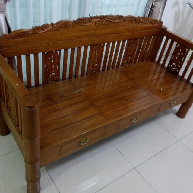 Sofa Kayu Jati Vintage 3 Tempat Duduk Home Furniture Furniture