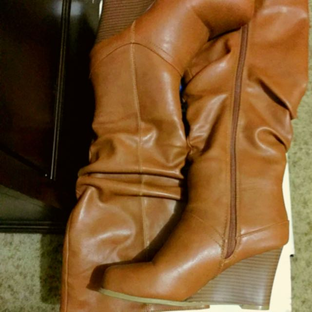 Tan Slouchy Wedge Boots