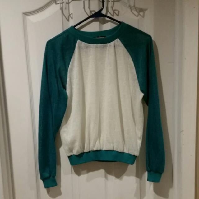 Teal And White Light Pullover Sweater