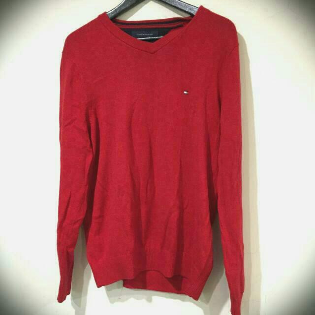 Tommy紅色V領經典針織毛衣