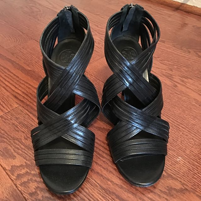 TORY BURCH Strappy black Leather Heels