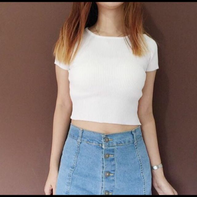 White Ribbed Crop Top