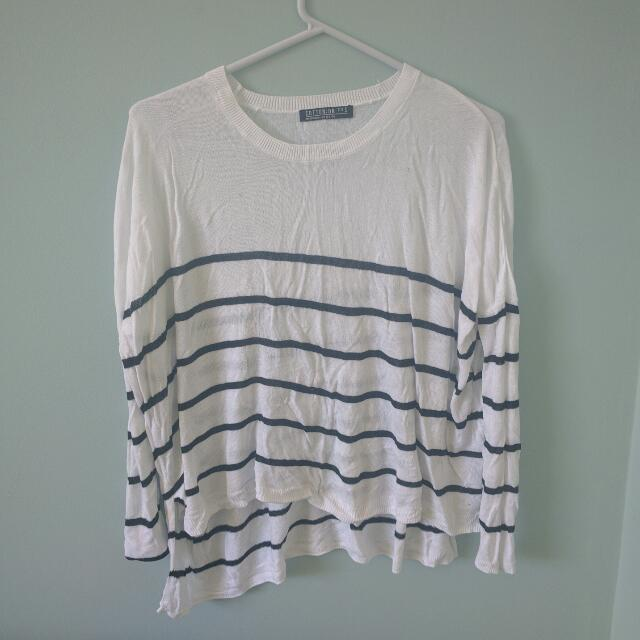White striped long sleeved top