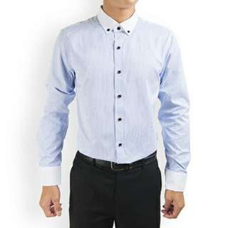 PROMOTION! Light Blue Stripes Shirt For Prom Night