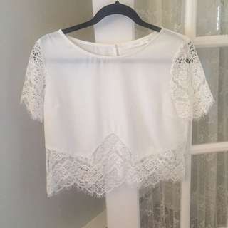 Lush White Lace Silk Shirt - Small