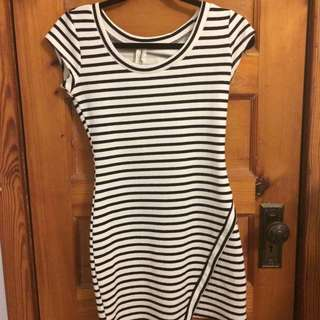 Fitted Navy Blue And White Dress