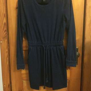 Navy Blue Dress With Drawstring