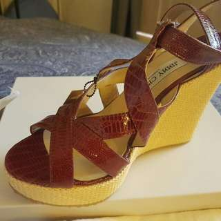 Authentic Jimmy Choo Wedge Sandals In Maroon/Red Sz AU 8 1/2