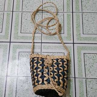 Small Rattan Pouch Bag