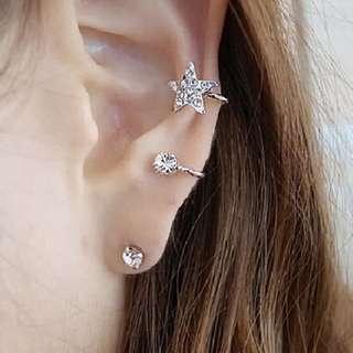 Set Of Star Ear Stuff Wrap Earring Cuff Eardrop