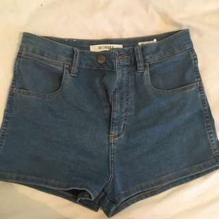 Wrangler High Cheeky Shorts Lennon Stone Denim 10
