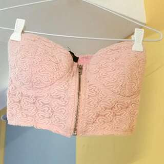 Pink Zip-up Bralet
