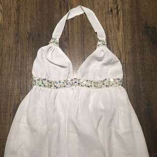 White Flowy Halter Top