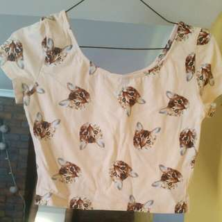 Pink Cat  Crop Top