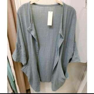 韓國 韓版寧靜藍 寬鬆棉麻長版罩衫