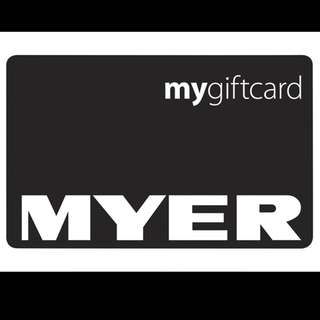 Brand New Myer Gift Card $50