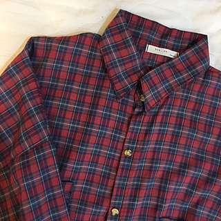 長版格紋薄襯衫