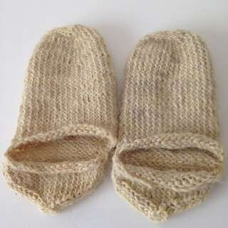 Handcrafted  Wool slippers Kids  knitted handmade Size 6 - 8