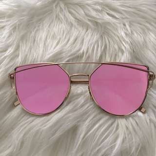 Rose Gold/Pink Mirrored Cat Eyed Sunglasses