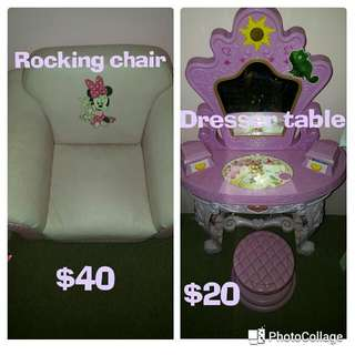 Minnie rocking chair&Rapunzel dresser (plastic)