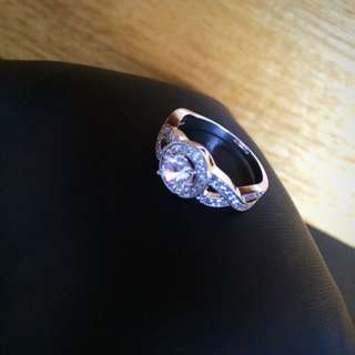 18K White Gold Plated Ring With Swarovski Elements
