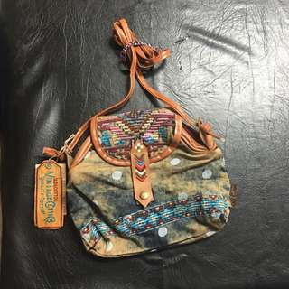 Aztec Denim Bag With Long Strap - New