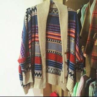 民族風針織外套