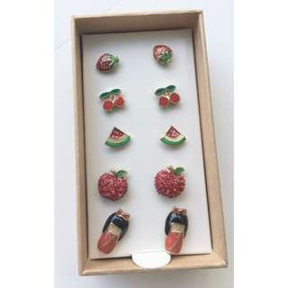 BN Lovisa Red Kawaii 5 Earring Stud Set