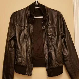 UO Black Leather Jacket. Size: M