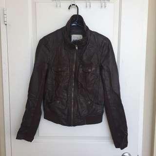 Garage Brown Faux Leather Jacket