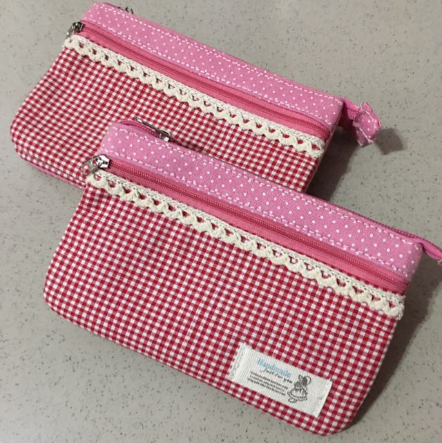 全新粉色小格子多功能手拿包