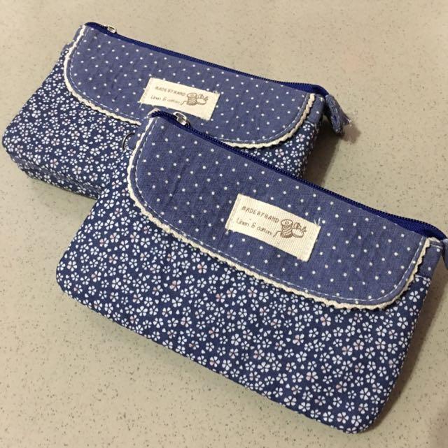 全新藍色小花多功能手拿包